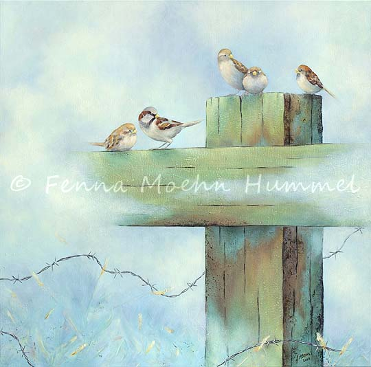 Christian Art Painting the Sparrow, biblical paintings by dutch artist fenna moehn hummel Atelier for Hope Doetinchem