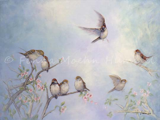 Christian Art, painting Just live like the sparrows, Fenna Moehn Hummel Atelier for Hope