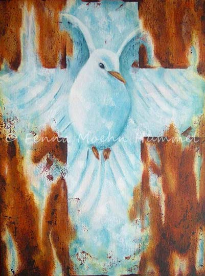 Biblical paintings Atelier for Hope | inspired by christian faith | The promise , about the Holy Spirit