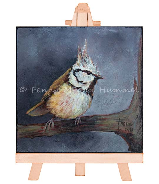 Crested Tit painting in oil, Atelier for Hope | Dutch paintings Artist Fenna Moehn Hummel