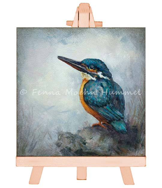 Atelier for Hope Miniature painting Kingfisher I, bird paintings