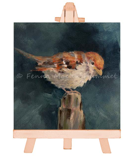 Sparrow painting in oil, Atelier for Hope | Dutch paintings Artist Fenna Moehn Hummel