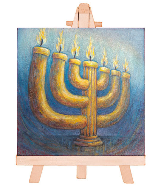 Atelier for Hope Biblical Art - painting the Lampstand, menorah candle.
