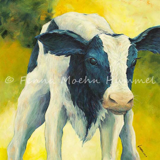 Painting Calf, Atelier for Hope Animal paintings & other special paintings by Dutch Artist Fenna Moehn Hummel