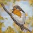 Miniature painting Robin in Spring Atelier for Hope Art