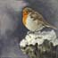 Miniature Painting Robin in the snow Atelier for Hope Art
