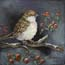 Miniature Painting Sparrow with red berries Atelier for Hope Art