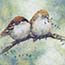 Atelier for Hope | original paintings & reproductions | Mini painting giclee sparrow