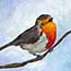 Atelier for Hope | original paintings & reproductions | Mini painting giclee Robin